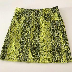 Neon Yellow & Black Snakeskin Print Mini Skirt Size Small